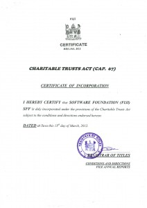 SFF Registration Certificate
